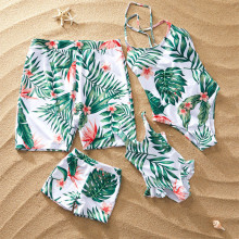 Family Matching Swimwear Print Red Flowers Green Leaves Swimsuit and Truck Shorts