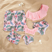 Family Matching Swimwear Print Red Flowers Green Leaves Cut Out Bikini Set and Truck Shorts