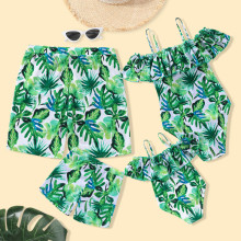 Family Matching Swimwear Green Leaves Ruffles Swimsuit and Truck Shorts