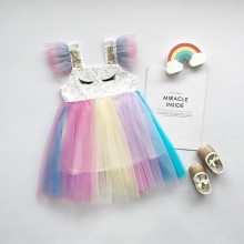 Kid Girl Sequins Eyelashs Rainbow Tutu Dress