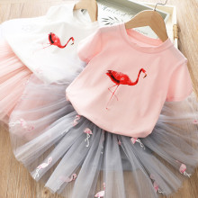 Kid Girl Red Flamingo and Embroidery Tutu Skirt Two-piece Outfit