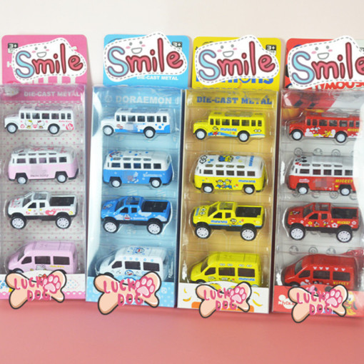 4 PCS Alloy Cute Cartoon Bus Toy Cars Model 1/64 Scale For 3Y+ Kids