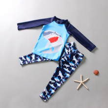 Kid Boys Print Shark Swimwear Sets Long Sleeves Top and Trunks