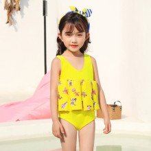 Kid Girls Print Yellow Circus Clowns Float Adjustable Buoyancy Swimsuit with Cap