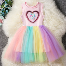 Kid Girl Heart Sequined Unicorn Rainbow Tutu Mesh Sleeveless Dress