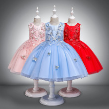 Kid Girl Embroidery 3D Butterflies With Bowknot Lace Mesh Wedding Party Sleeveless Dress