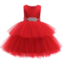 Kid Girl Embroidery Layers Mesh Jewelry Bowknot Belt Sleeveless Wedding Party Dress