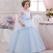 Kid Girl Lace Long Sleeve Hollow Out Embroidery Flowers  Princess Dress With Bowknot