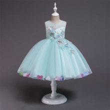 Kid Girl 3D Embroidery Flowers With Bowknot Lace Mesh Party Dress