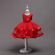 Kid Girl Pearls Beads Two Layered Mesh Wedding Party Sleeveless Satin Dress With Bowknot
