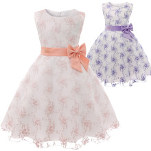 Kid Girl 3D Embroidery Flowers With Bowknot Mesh Pompadour Sleeveless Dress