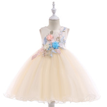 Kid Girl Fairy Embroidery 3D Flower Princess Dress With Bowknot