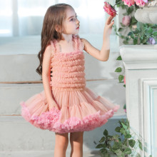 Kid Girl Concatenated Layers Ruffles Tutu Mesh Straps  Ombre Dress