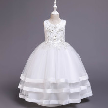 Kid Girl 3D Embroidered Flowers Diamond Mesh Layers With Bowknot Wedding Party Sleeveless Dress