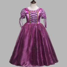 Kid Girl Cartoon Lace Sleeves With Gem Sparkle Fringed Mesh Purple Princess Dress