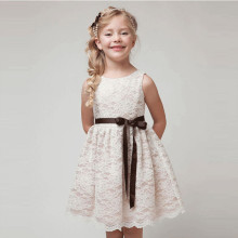 Kid Girl Lace Cut-Out Embroidered Flower Sleeveless Dress with Bowknot