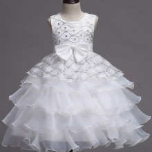 Kid Girl Sequins Diamond-Studded Layers Ruffles Lace Wedding Party Sleeveless Dress