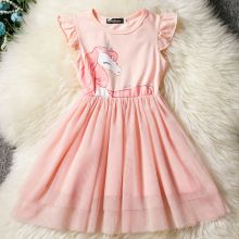 Kid Girl Unicorn Print Mesh Ruffles Sleeves Tutu Dress