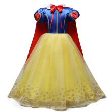 Kid Girl Snow White Bowknot Dress With Long Cape