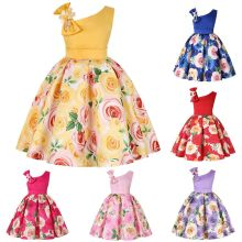 Kid Girl Print Rose Flowers Beads One Shoulder Dress With Bowknot