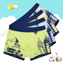 Kid Boys 4 Packs Print Ship Boat Boxer Briefs Cotton Underwear