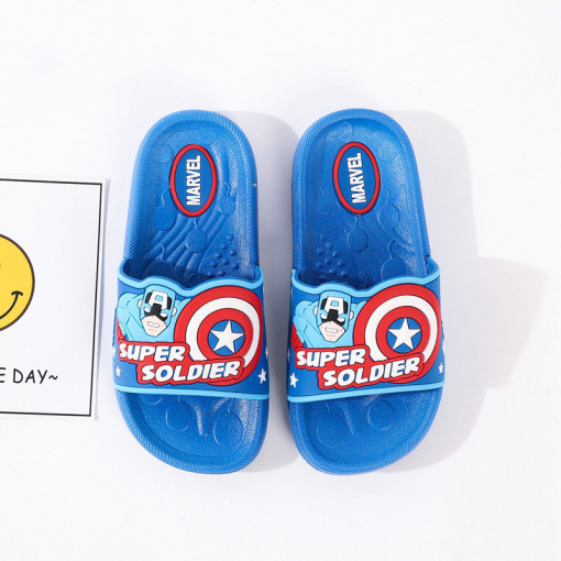 Toddlers Kids Cartoon Marvel Captain America Flat Beach Slippers