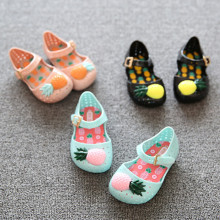 Kid Toddler Girl Hollow-Out 3D Pineapple Jelly Flats Shoes
