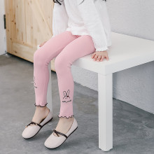 Kid Girl Embroideried Rabbit Cotton Leggings Bottoms
