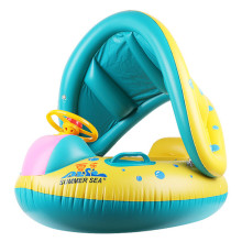 Toddler Kids Inflatable Yellow Sitting Swimming Ring With Steering Wheel And Armrest