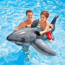 Grey Shark Ride-On Inflatable Pool Floats Toy For Kids Child Adults