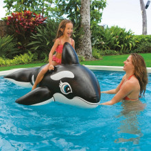 Black Whale Ride-On Inflatable Pool Floats Toy For Kids Child Adults