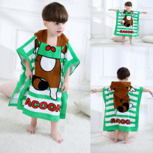 Cute Brown Raccoon Hooded Bathrobe Towel Bathrobe Cloak For Toddlers & Kids Size 27.5*55inch