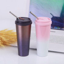 Insulated Stainless Steel Tumbler Straw Cup Ombre Irregularity Vacuum Water Bottles
