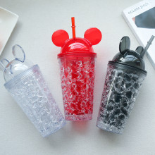 Insulated Plastic Tumbler Straw Cup Mickey Crushed Ice Water Bottles
