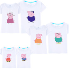 Matching Family Prints Peppa Pig Grandpa Grandma Family T-shirts