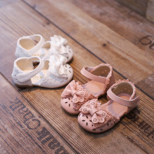 Toddler Kid Girl Lace Bowknot Hollow Out Velcro Sandals