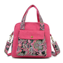 Print Elegance Nation Flower Pattern Canvas Single Shoulder Handbag