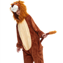 Kids 3D Brown Lion King Onesie Kigurumi Pajamas Animal Cosplay Costumes for Unisex Children