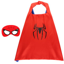 Spider Halloween Costumes Cosplay Cloak Double Sided Satin Capes with Felt Masks for Kids