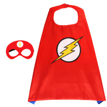 The Flash Cartoon Halloween Costumes Cosplay Cloak Double Sided Satin Capes with Felt Masks for Kids