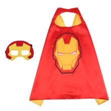Iron Man Halloween Costumes Cosplay Cloak Double Sided Satin Capes with Felt Masks for Kids