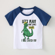 Boy Print Dinosaur Slogan Cotton T-shirt