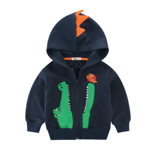Toddler Boy 3D Crocodile Eat Fish Outerwear Coat
