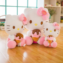 Hello Kitty Icecream Bowknot Soft Stuffed Plush Animal Doll Pillow for Kids Gift