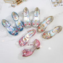 Kid Girls Sequins Pearl 3D Bowknot Flowers Open-Toed Sandal High Pumps Dress Shoes