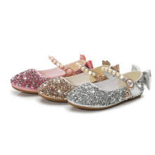 Kid Girls Sequins Pearl 3D Bowknot Flat Dress Shoes