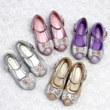 Kid Girls Sequins Jewel Hello Kitty Bowknot High Pumps Dress Shoes