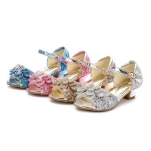 Kid Girls Sequins 3D Butterfly Open-Toed Sandals High Pumps Dress Shoes