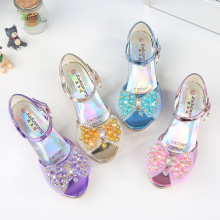 Kid Girls Sequins Beads Mesh Bowknot Open-Toed Sandals High Pumps Dress Shoes