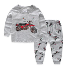 Kids Prints Motorcycles Pajamas Sleepwear Set Long-sleeve Cotton Pjs